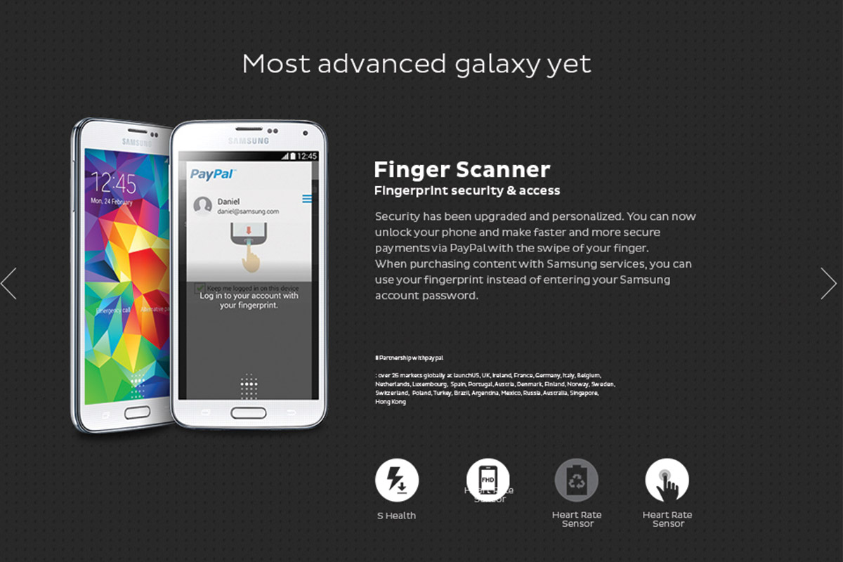 Samsung Galaxy S5 product page