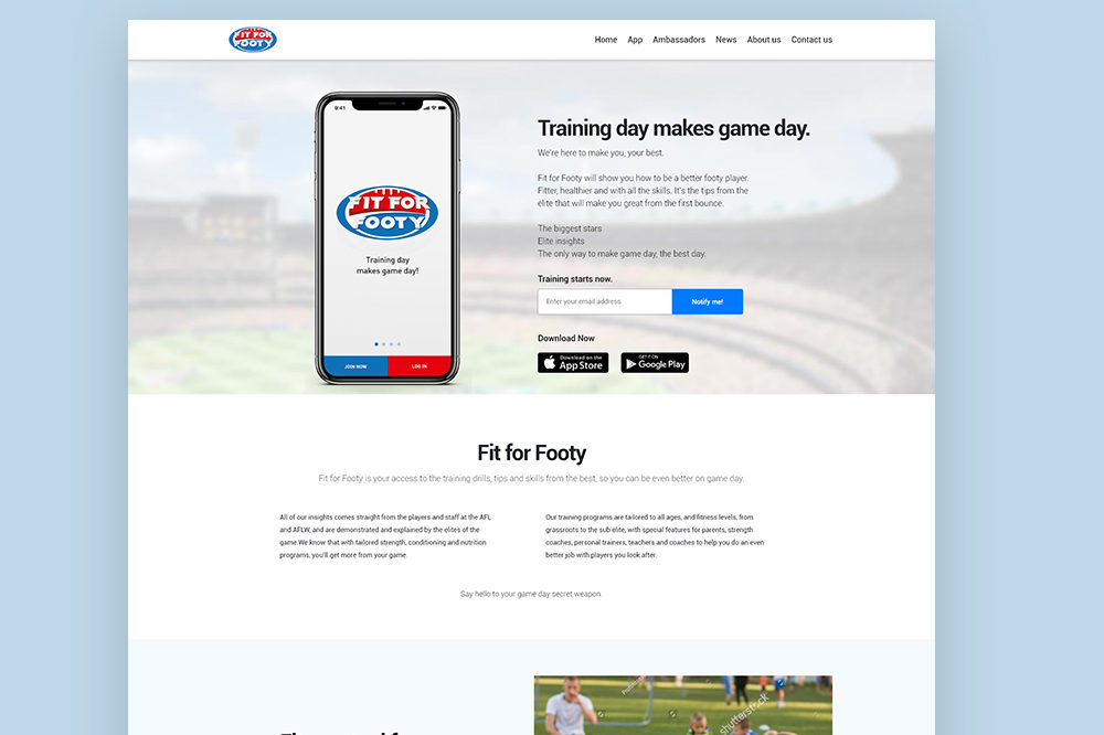 Fit For Footy – Website Design and Development